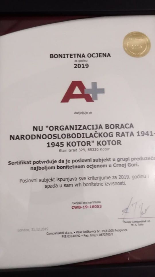 Priznanje OBNOR-u Kotor
